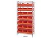 WIRE SHELVING SYSTEMS WITH STACKABLE SHELF BINS